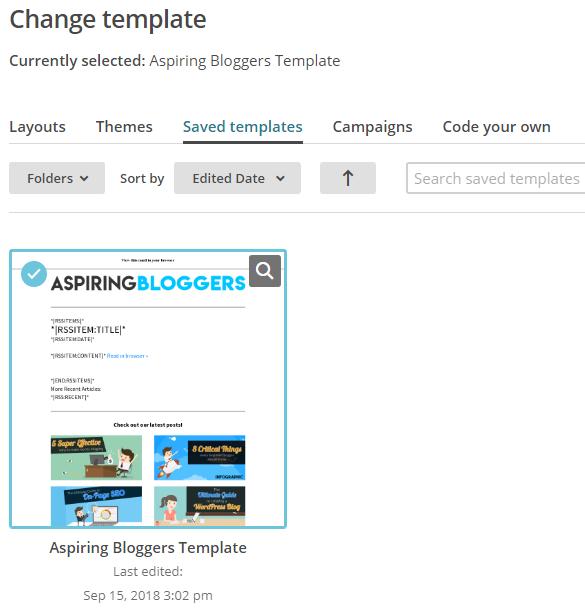 Saved Templates - Mailchimp