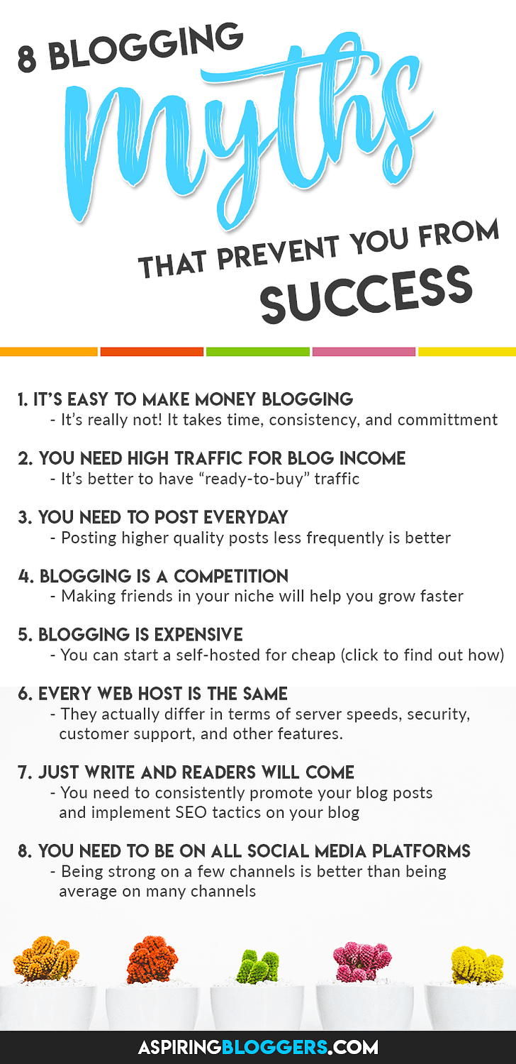 8 Blogging Myths That Prevent You From Success. Blogging Tips for Beginners | Blogging Tips and Tricks | Blogging for Beginners #bloggingtips