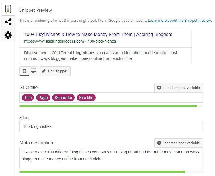 Yoast SEO - Meta Descriptions Screenshot